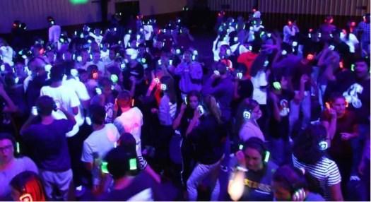 colored headphones human lightshow