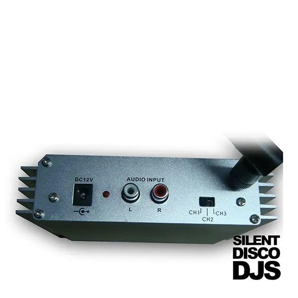 SDDJS TR2 Silent Disco zender aansluitingen