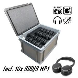 SDDJS CR101 Silent Disco Set met 10x HP1 hoofdtelefoon