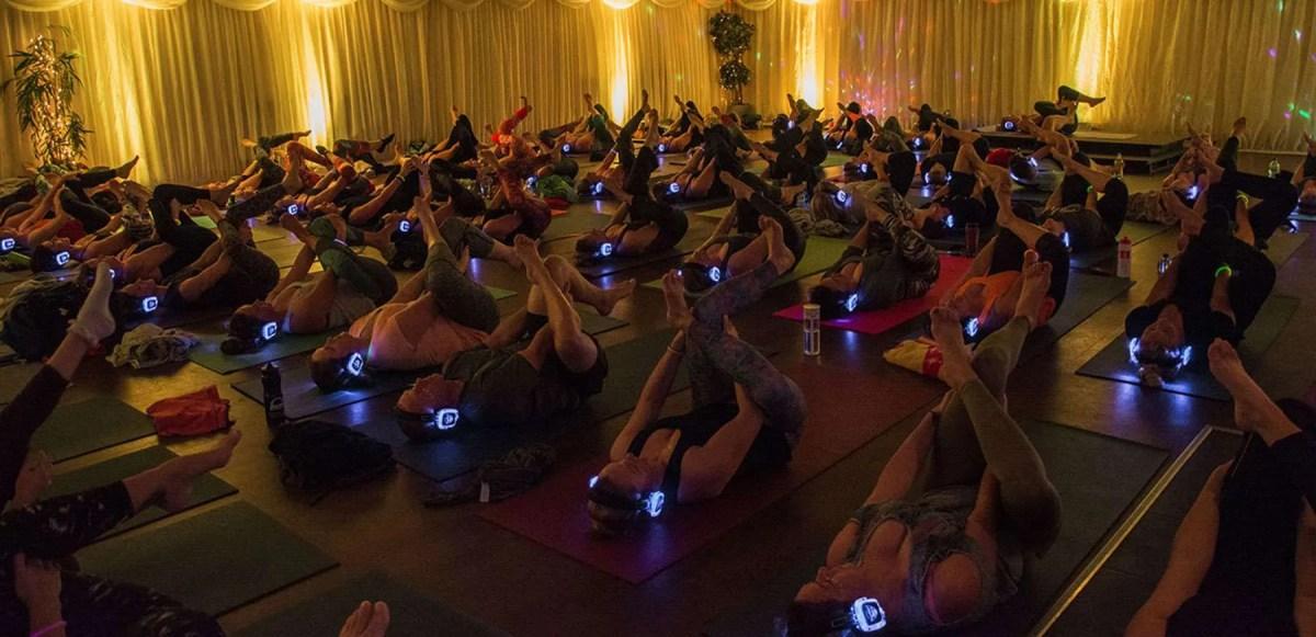Silent Disco Yoga Newquay Cornwall UK Mass Yoga