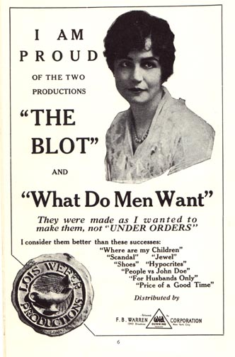 Advertisement for The Blot, highlighting director Lois Weber (public domain)