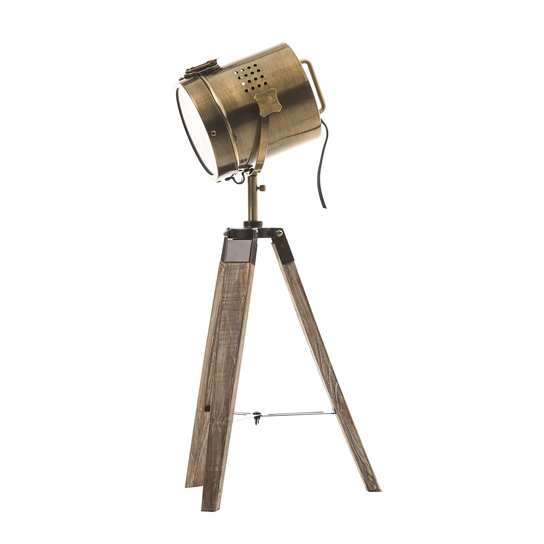 Lampe projecteur design vintage et rétro en métal style cuivre et trépied en bois