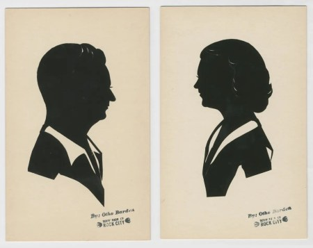"Two silhouettes stamped ""Otho Barden, souvenir of Rock City"""