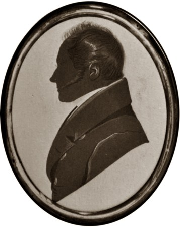 Silhouette of a man with side burns by Edward Barnes