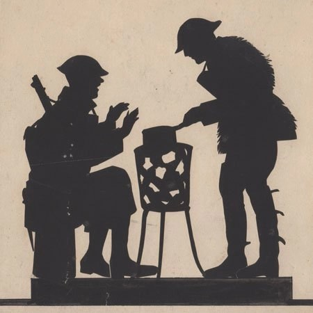 Silhouette of two soldiers cooking on a brazier