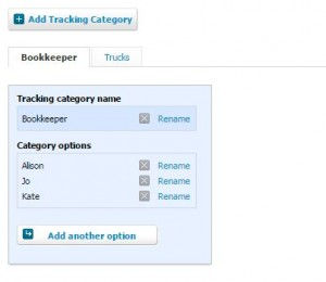 Setting Up Tracking Categories