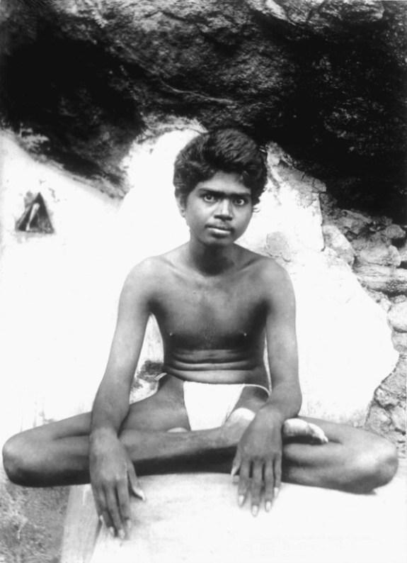 Ramana Maharshi aged twenty-two on Arunachala hill, Tiruvannamalai, South India.