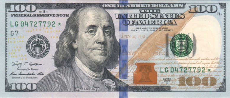 Franklin on the Series 2009 hundred dollar bill - Book of Virtues