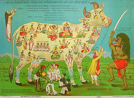 """Chaurasi Devataon-wali Gai, or """"The Cow with 84 deities"""" by Raja Ravi Varma The demon with sword states, """"O human beings, watch the meat eaters in Kali yuga""""."""