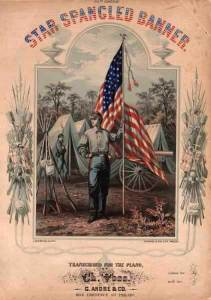 "Cover of sheet music for ""The Star-Spangled Banner"", transcribed for piano by Ch. Voss, Philadelphia: G. Andre & Co., 1862"
