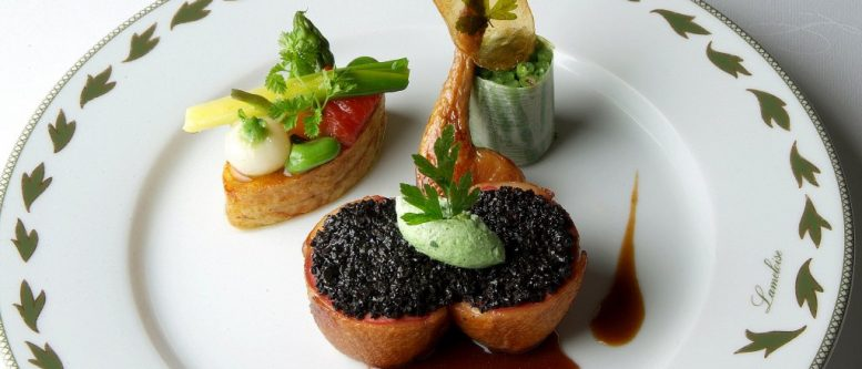 A Jacques Lameloise (a three-star Michelin Guide chef) nouvelle cuisine presentation