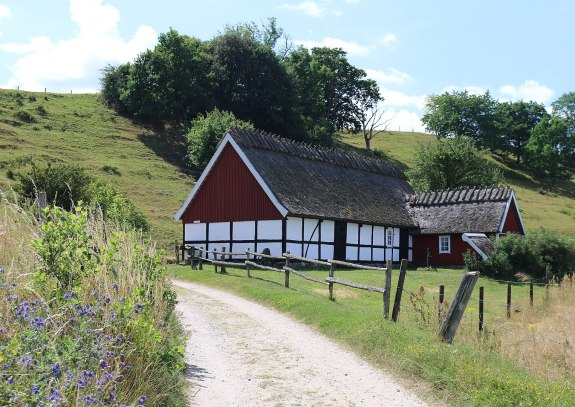 Traditional half-timbered farm house of the southern plains in Scania.