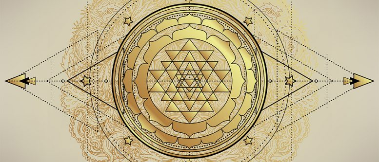 The Sri Yantra or Sri Chakra, form of mystical diagram, Shri Vidya school of Hindu tantra symbol. Sacred geometry vector design element