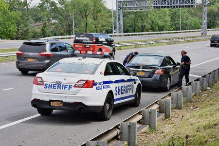 Quarantine checkpoint near the Bayonne bridge