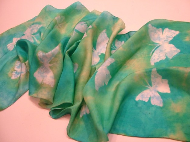 Ready to go - the butterfly silk scarf waiting for flight