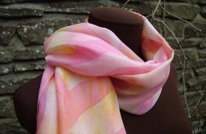pastel pink handpainted silk scarf fionastolze