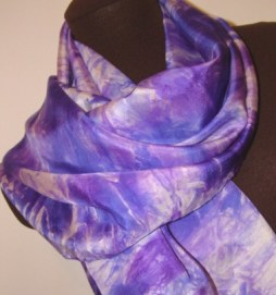Blue and purple crepe de chine silk