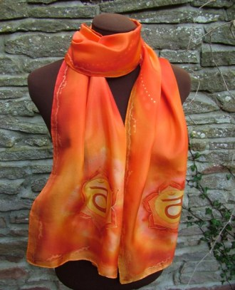 hand painted silk scarf sacral chakra orange fionastolze silkandart