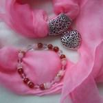 heart chakra hand painted silk scarf love combo roesequartz bracelet pink fionastolze silkandart