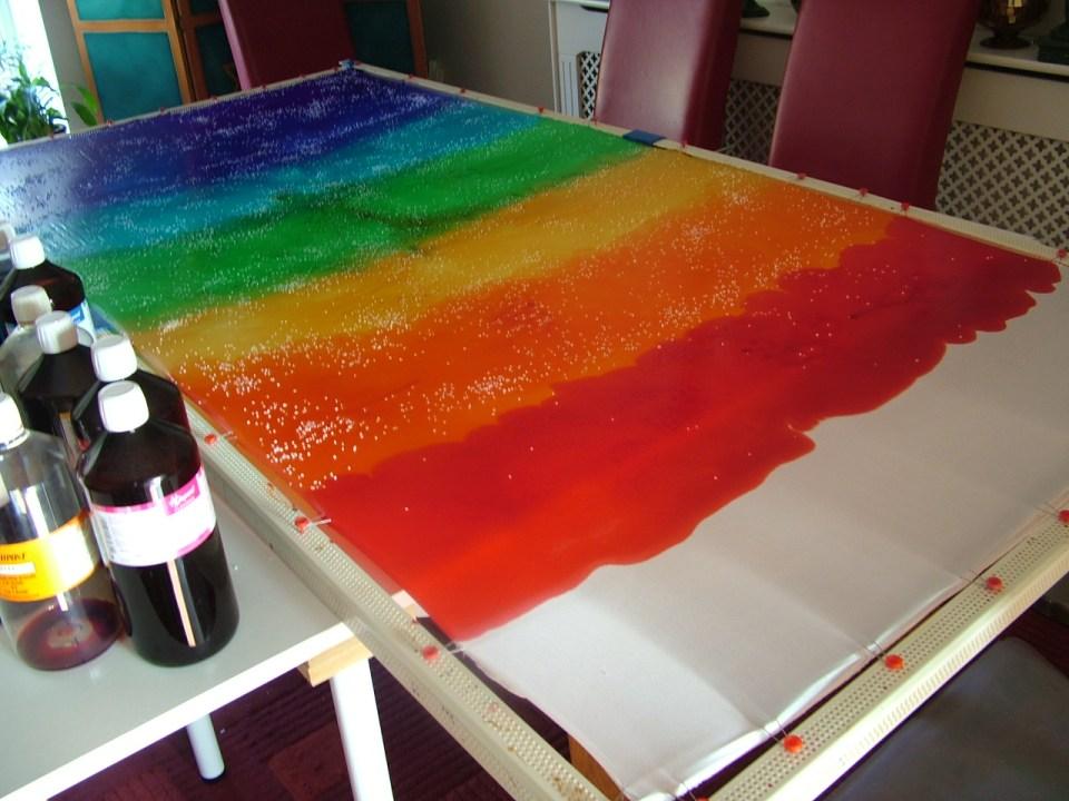 fionastolze silk painting, art studio rainbow silk rainbow colours silkandart