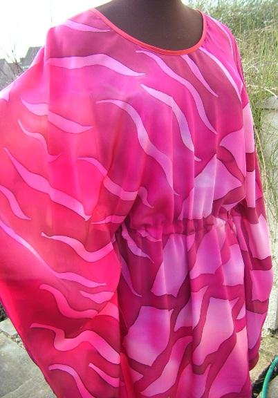 pink silk kaftan hand painted silk painting silk clothing fiona stolze silkandart silk poncho wrap