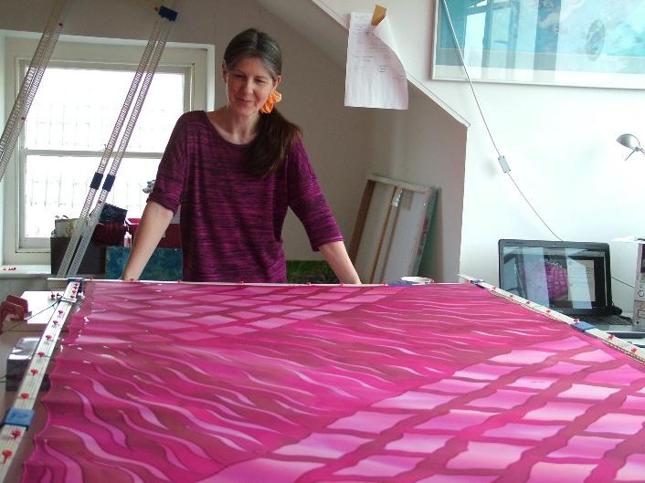pink and fuchsia hand painted silk scarf silk clothing wrap shawl fionastolze silkandart