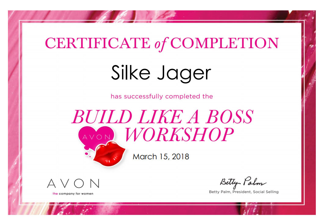 Build Like A Boss Workshop certificate for Silke Jager