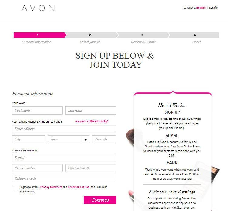 Avon Sign Up Form - Use Reference code: Silke