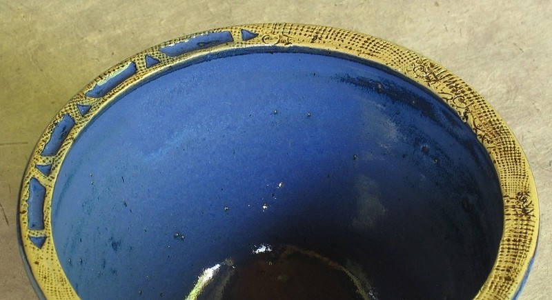 Keramik-Schale - blau Detail