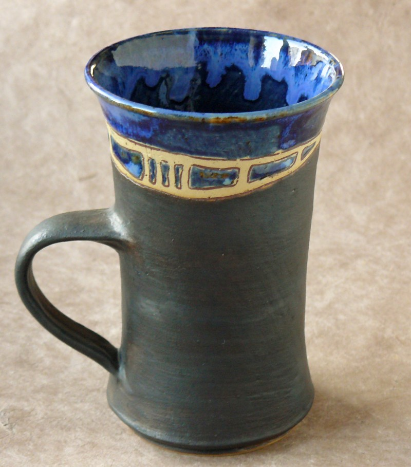 Keramik-Tasse blau-anthrazit