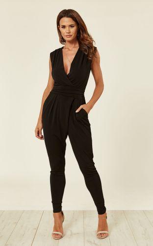 black stretch wrap non crease jumpsuit