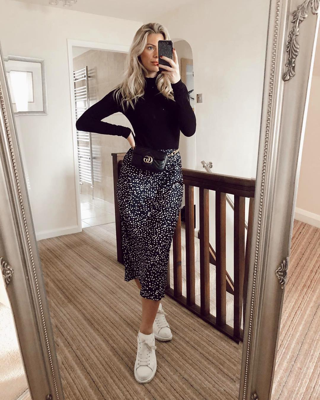 Spotted midi skirt