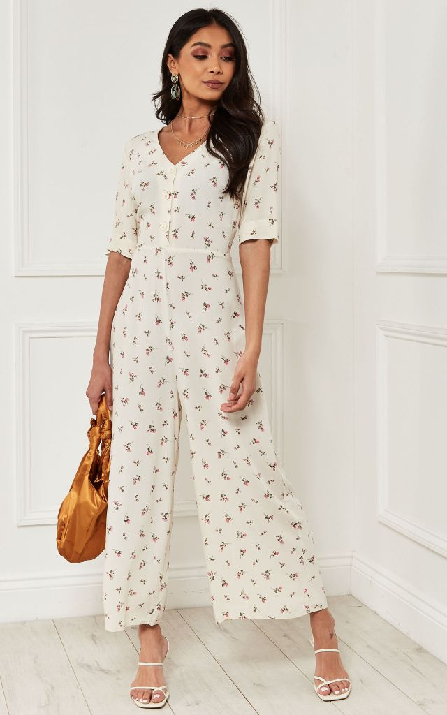 V neck jumpsuit with half sleeve in cream