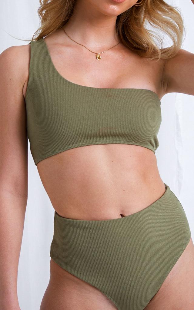 High-waisted khaki bikini