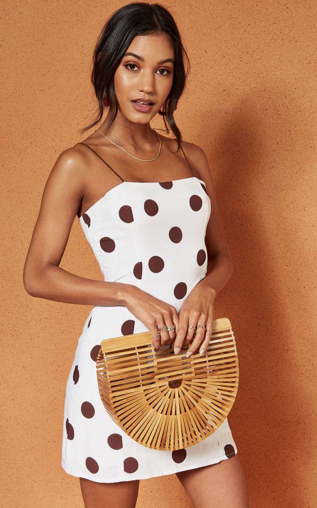 Mini cami dress in brown polka dot