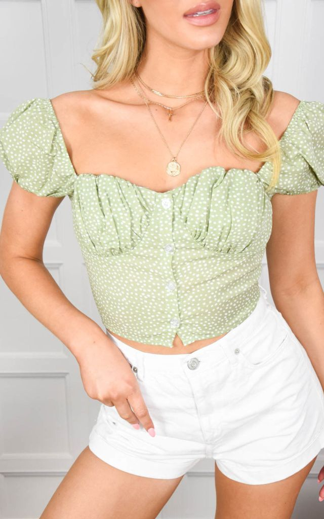 Crop top with puff sleeve in light green