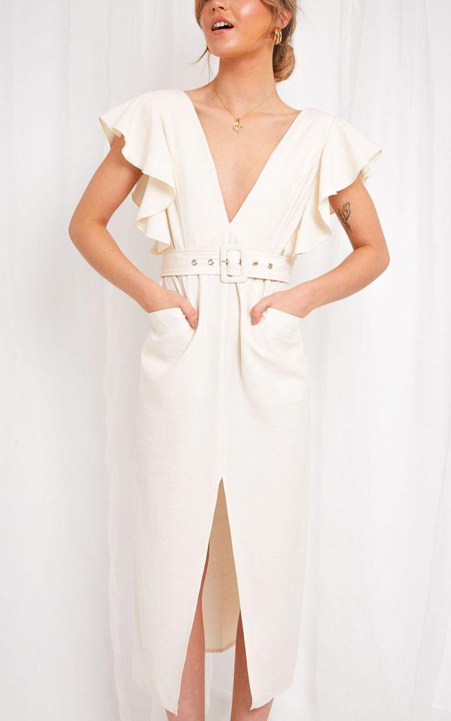 Short sleeve V neck midi dress in cream