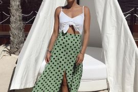 Maxi dress with green polka dot skirt