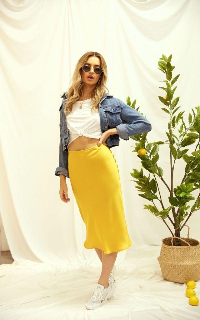 Yellow satin midi skirt