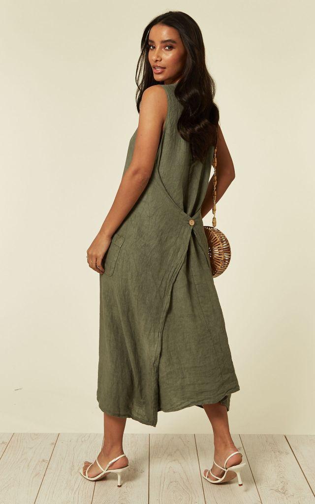 Khaki linen dress