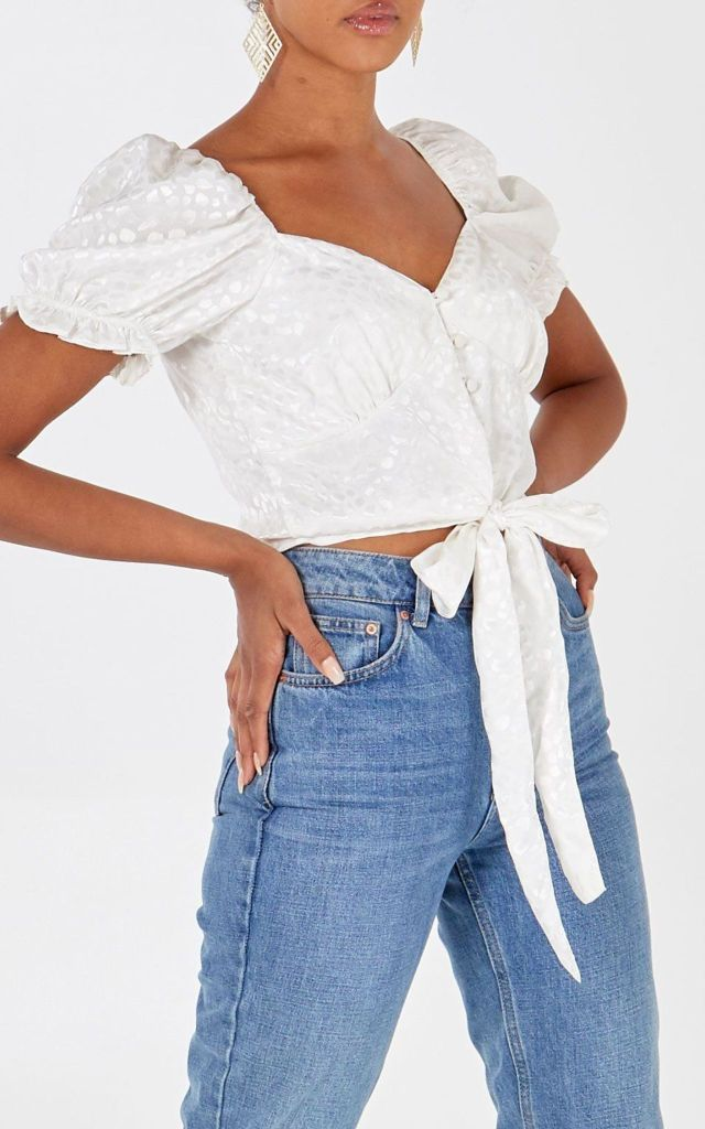 Puff sleeve crop top in white