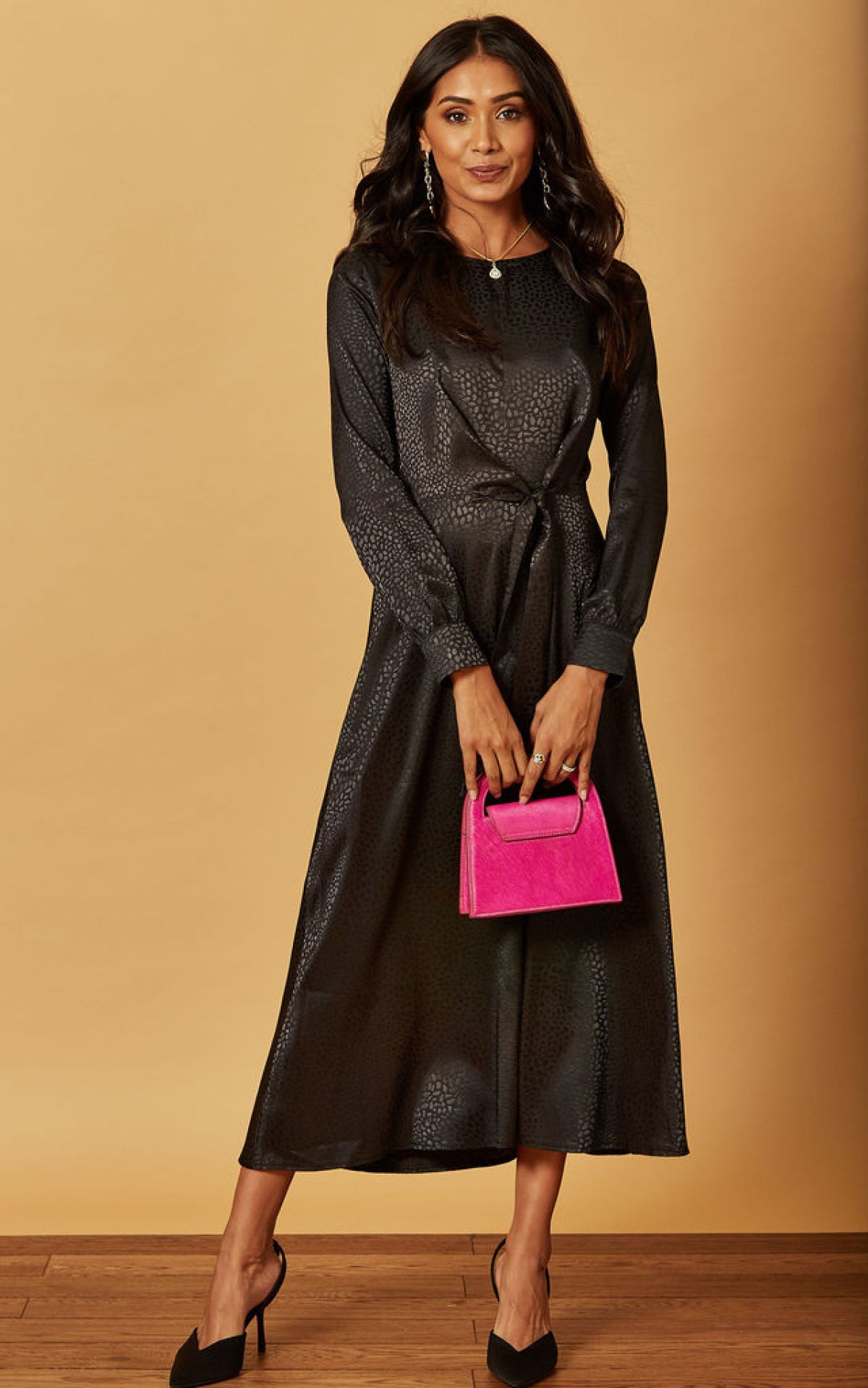satin-jacquard-tie-front-midi-dress-in-black-summer-sale