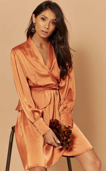 Satin mini dress in copper