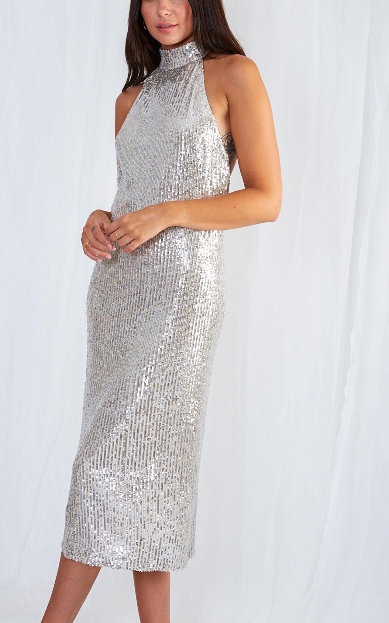 Sequin halter neck dress