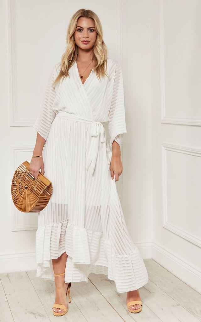 White wrap maxi dress
