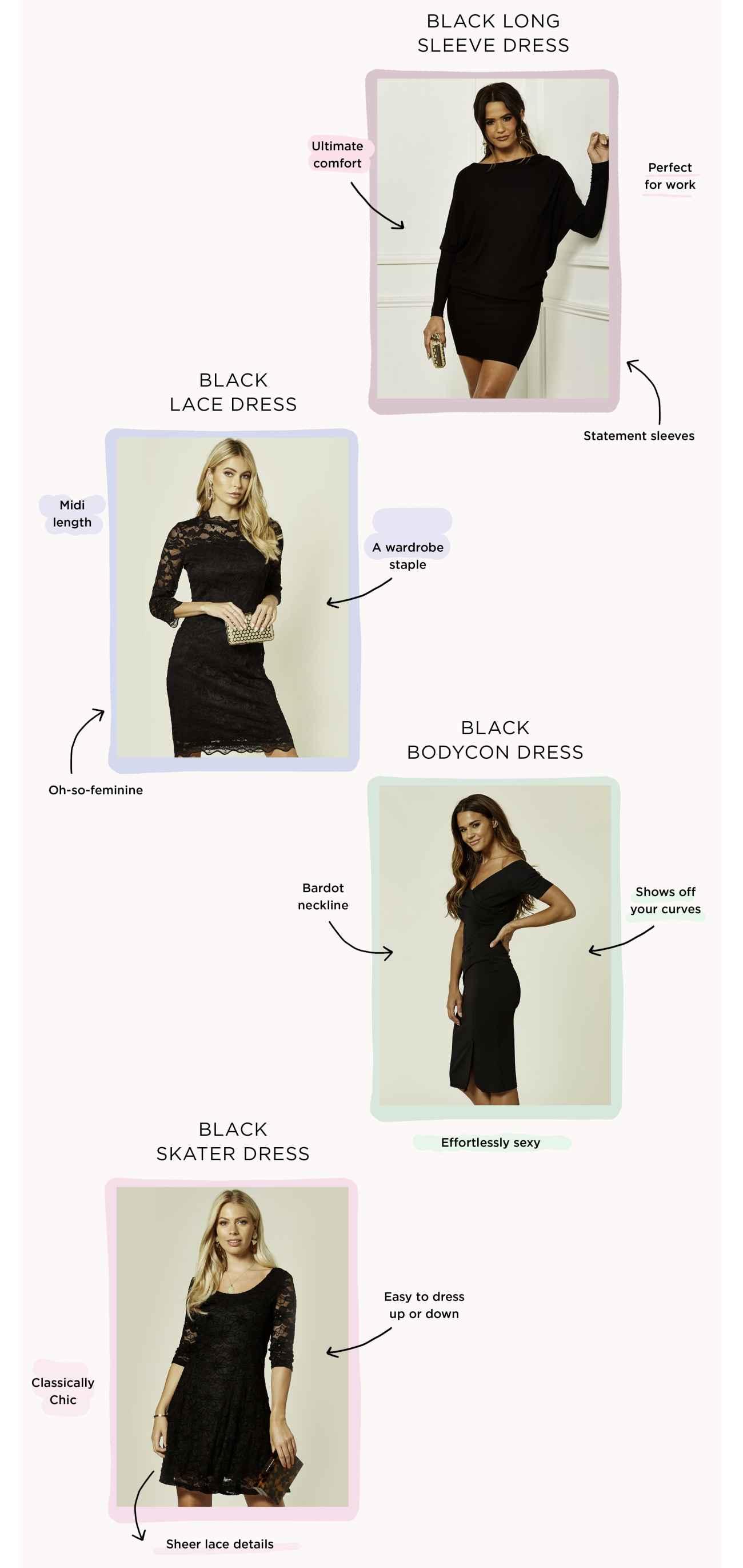four types of little black dresses