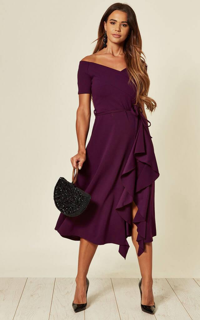 Bardot Off Shoulder Midi Dress in Purple