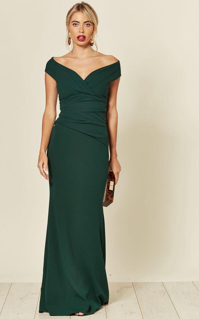 Bardot Pleated Occasion Maxi Dress in Emerald Green