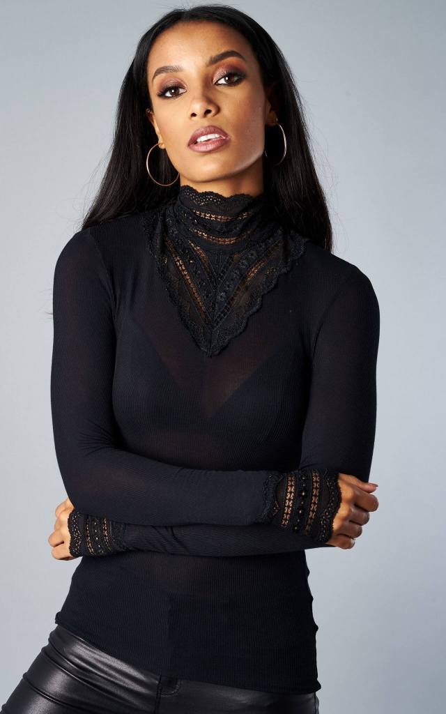 Lace High Neck Blouse in Black