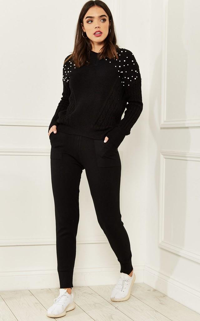 Black Loungewear Set With Pearl Detail